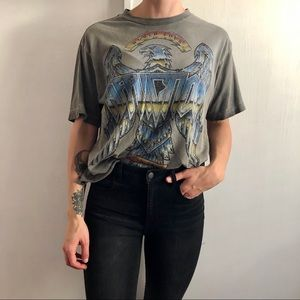 Affliction cropped graphic tee